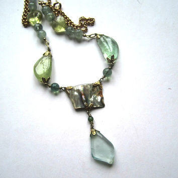 Aquamarines with Abalone Shell on Goldplated Chain Necklace