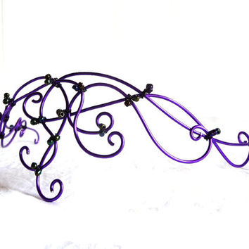 Purple beaded circlet, handmade, gothic, accessories, hair