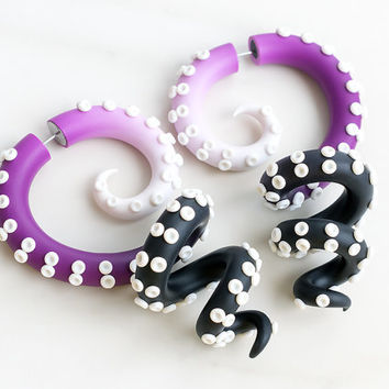 Tentacle Gauges, Fake Gauges, Fake Plugs, Ear Gauges, Tentacle Earrings, Octopus Gauges, Ear Plugs, Faux Gauges, Ombre Faux Plugs