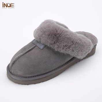 INOE 2018 sheepskin leather fur lined men home shoes winter suede slippers indoor house shoes for man half slippers high quality