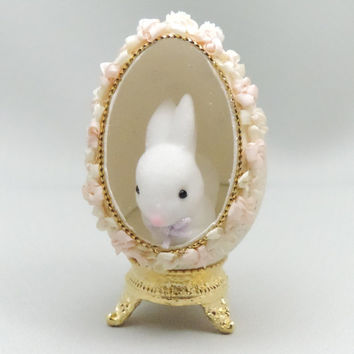 White Easter Bunny, White Rabbit, Easter Ornament, Faberge Style Decorated Egg