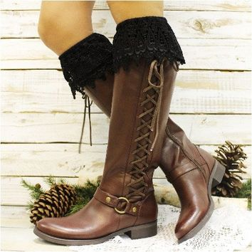 CAMELIA tall lace boot sock - black