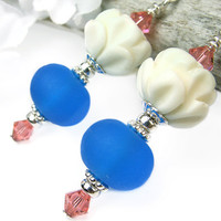 Lotus Earrings Blue Lampwork Carved Bone Crystals Sterling Silver Handmade Jewelry
