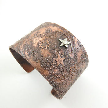 Celestial Copper Cuff Moon and Star Copper Cuff Handmade Wide Adjustable Cuff Womans Cuff Mens Cuff Night Sky Cuff