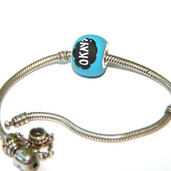 Fault in our stars ok ok okay okay john green Valentine's gift European bead large hole Fits Pandora Chamilia Troll Biagi teenage girl