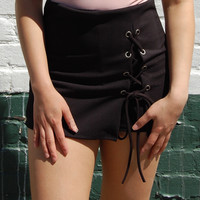 Black Lace-Up Skort