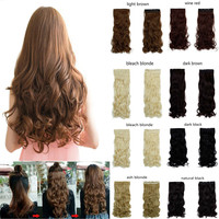 "27"" long curly synthetic hair clip in half head hair extension 17 colors"