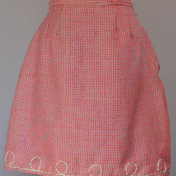 Raw silk skirt, Pink, white, tweed, embroidered