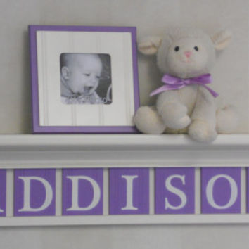 "Unique Baby Gifts - Custom Gift - Purple Baby Girl Nursery Decor 30"" Linen White Shelf - 7 Wood Letter Lilac Baby Name Signs - ADDISON"