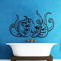 Octopus Wall Decal Tentacles Sprut Kraken Ocean Sea Animal Wall Vinyl Decals Sticker Home Interior Wall Decor for Any Room Housewares Mural Design Graphic Bedroom Wall Decal Bathroom Window Decals (5831)