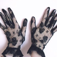 Black lace gloves with leaves italian vintage