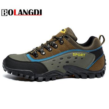 Bolangdi 2018 New Summer Trekking Shoes for Men Women Waterproof Hiking Shoes Suede Leather Man Mountain Shoes Outdoor Shoes