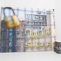 Domino Sugar Building and the Lock - New York Photography - Printed on Canvas - 16 in x 20 in, Cup and Bag are placed to show the size