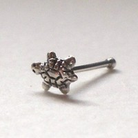 925 sterling silver nose stud 22 gauge,turtle