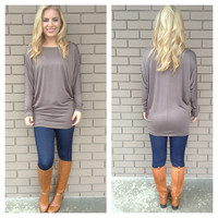 Mocha Long Sleeve Modal Tunic Top