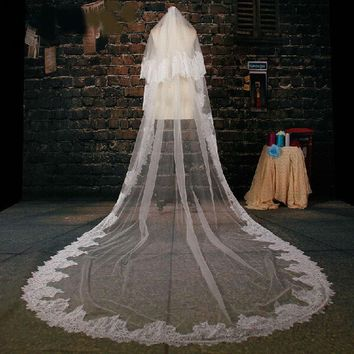 White Tulle Cathedral Train Wedding Veil Lace Applique Two-layer Long Bridal Veils Wedding Accessories