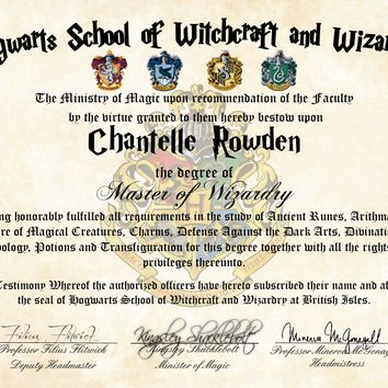 Personalized Harry Potter Diploma - Hogwarts School of Witchcraft and Wizardry Degree of Master of Wizardry - Headmistress Minerva McGonagall
