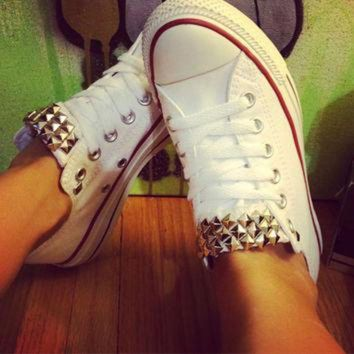 DCCKHD9 Studded Custom White Low Converse All Star - Chuck Taylors! ALL SIZES & COLORS!!