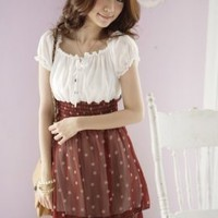 Lovely Puff Sleeve Princess Style Red Ladies Dresses : Yoco-fashion.com