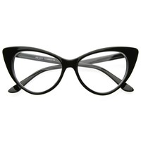 Super Cat Eye Glasses Vintage Inspired Mod Fashion Clear Lens Eyewear