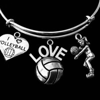 I Love Volleyball Jewelry Adjustable Bracelet Expandable Silver Charm Bangle One Size Fits All Gift Coach
