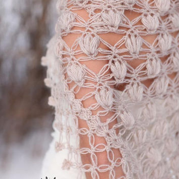 Shrug Bolero Shawl / Bridal Shrug /Crochet Shawl Shrug / Wedding Accessories / Crochet cowl / Bride Accessories Winter Wedding / Beige Shawl