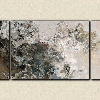 "Oversize modern art triptych canvas print 30x60 to 40x78 on stretched canvas, in warm gray, ""Geologic Time"""