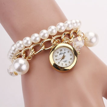 Women Faux Pearl Rhinestone Bracelet Wrist Watch (Color: White) = 1956448196