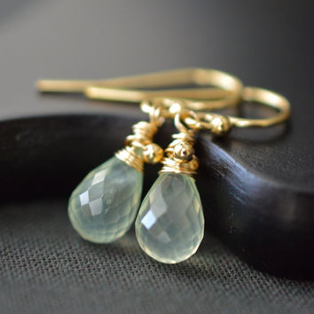 Small Prehnite Earrings / Pale Green Gemstone Earrings / Gold Gemstone Dangles / Mint Green Earrings / Wire Wrapped Prehnite Jewelry