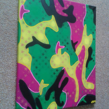Abstract camouflage painting,neon,street art,canvas,art,stencil art,spray paints,pink,green,yellow,black,stars,pattern,military,pop art,graf
