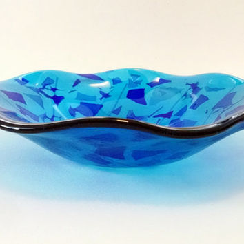 Brand new Fused Glass Bowl - Blue Confetti - Fused from Stained Glass Your AZ35