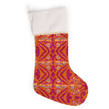 "Miranda Mol ""Ornamental Lace Orange"" Orange Pink Pattern Damask Mixed Media Digital Christmas Stocking"