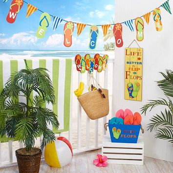 Flip Flop Theme Wall Hook Plaque Banner Crate Coastal Beach Summer Decor