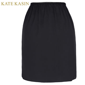 Kate Kasin Womens Half Slips Lace Women Petticoat Knee Length Slim Female Underskirt Slip Skirt Elastic Black Slips Underdress