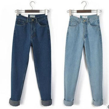 American Apparel Street Fashion Lady Retro High Waist Denim Jeans  Boyfriend Jeans for Women plus size Harem Pants 32 33 34