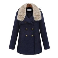 ZLYC Women's Wool Blend Double Breasted Winter Pea Coat with Luxe Fur Collar