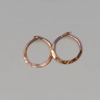 8 mm 14k Gold Hoops, Tiny Solid Gold Hoops for Babies 14k Rose Gold or Yellow Gold Hoop Earrings Hammered Cartilage Hoops Minimalist Earings