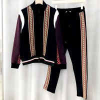 Free shipping-Fendi autumn and winter new double F webbing stitching color casual sports suit two-piece