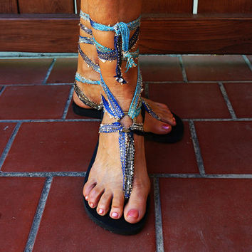 Caribbean blue  boho chic gladiator sandals. All our laces are interchangeable with our eco-friendly, recyclable soles.