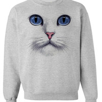 CAT FACE SWEATSHIRT unisex pullover crew neck --  Sizes S-XXL