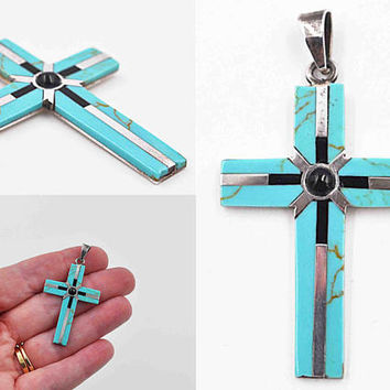 Vintage Taxco Sterling Silver, Faux Turquoise & Black Onyx Cross Pendant, Mexico, Howlite, Enamel, Inlaid, Religious, Lovely! #b959