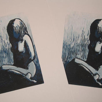 Sadness, Nude Woman hand-pulled reduction print, loneliness