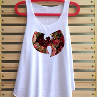 wu tang flower shirt Wu tang logo clan hip hop tank top clothing vest tee tunic - size S M