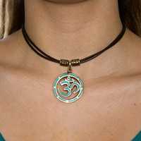 Ohm Sanskrit Om Pendant Leather Choker or Wrap Bracelet BOHO Surfer Style Yoga Hindi Meditation Jewelry