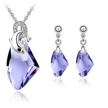 Dolphins Necklaces and Drop Earrings Jewelry set made with Swarovski Elements (4-colors)