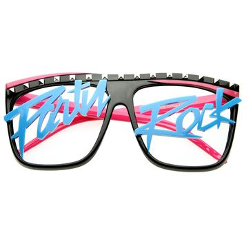 Party Rock Dance LMFAO Celebrity Neon Retro Horn Rimmed Clear Lens Glasses