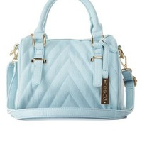 Blue Light Chevron-Quilted Cross-Body Mini Satchel by Charlotte Russe