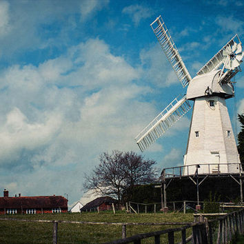 Rustic Windmill Photography, Rustic Wall Art, White Windmill, English Countryside, Country Home Decor, Rustic Wind Mill Print, White