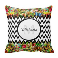 Mod Black Chevron Vintage Floral Monogram and Name Throw Pillows