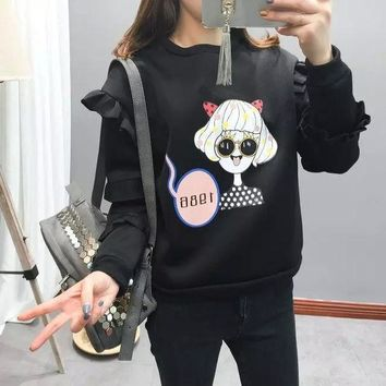Women's Fashion Ruffle Cartoons Girl Pullover Hoodies [4919020292]
